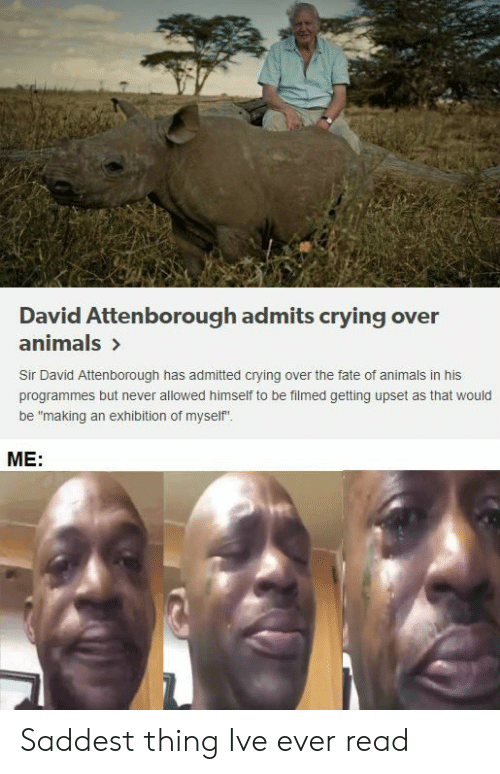 """Animals, Crying, and Fate: David Attenborough admits crying over  animals>  Sir David Attenborough has admitted crying over the fate of animals in his  programmes but never allowed himself to be filmed getting upset as that would  be """"making an exhibition of myself  ME: Saddest thing Ive ever read"""