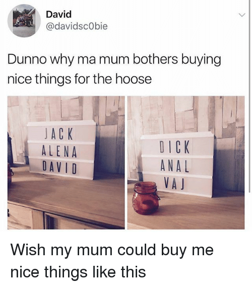 Memes, Nice, and 🤖: David  @davidscObie  Dunno why ma mum bothers buying  nice things for the hoose  JACK  ALENA  DAVID  DICK  ANAL  VA J Wish my mum could buy me nice things like this