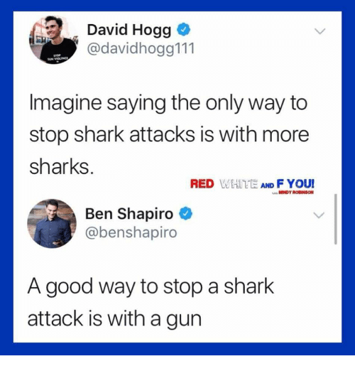 Memes, Shark, and Good: David Hogg  @davidhogg111  Imagine saying the only way to  stop shark attacks is with more  sharks.  RED WEATE AND F YOUI  MINDY ROBINSON  Ben Shapiro  @benshapiro  A good way to stop a shark  attack is with a gun
