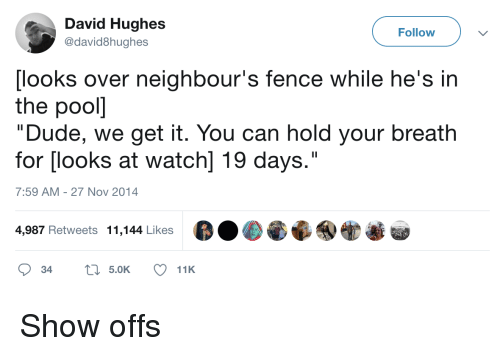 """Dude, Watch, and Can: David Hughes  @david8hughes  Follow  [looks over neighbour's fence while he's in  the pooll  """"Dude, we get it. You can hold your breath  for [looks at watch] 19 days.""""  7:59 AM-27 Nov 2014  4,987 Retweets 11,144 Likes Show offs"""