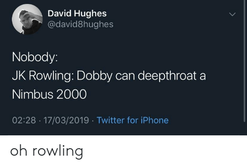 Iphone, Twitter, and Jk Rowling: David Hughes  @david8hughes  Nobody:  JK Rowling: Dobby can deepthroat a  Nimbus 2000  02:28 17/03/2019 Twitter for iPhone oh rowling
