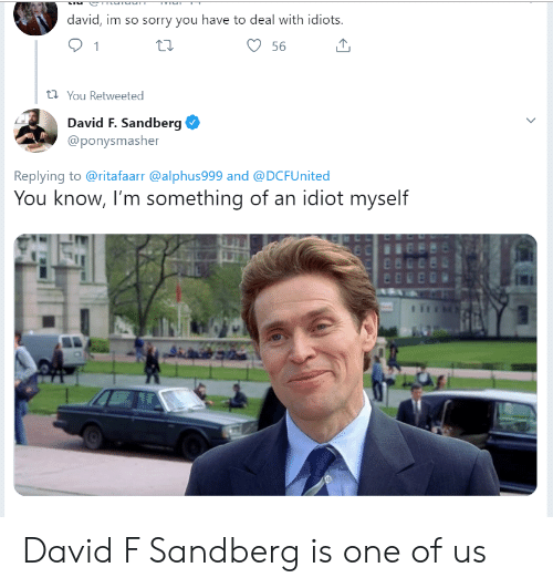 Sorry, Idiot, and One: david, im so sorry you have to deal with idiots  56  t You Retweeted  David F. Sandberg  @ponysmasher  Replying to @ritafaarr @alphus999 and @DCFUnited  You know, I'm something of an idiot myself David F Sandberg is one of us