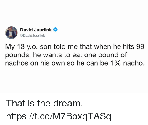 Funny, Yo, and The Dream: David Juurlink  @DavidJuurlink  My 13 yo. son told me that when he hits 99  pounds, he wants to eat one pound of  nachos on his own so he can be 1 % nacho That is the dream. https://t.co/M7BoxqTASq