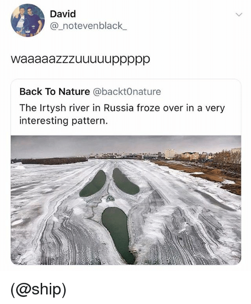 Nature, Russia, and Dank Memes: David  @_notevenblack  Back To Nature @backtOnature  The Irtysh river in Russia froze over in a very  interesting pattern. (@ship)