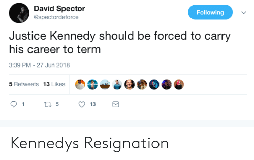 Justice, Kennedy, and Following: David Spector  @spectordeforce  Following  Justice Kennedy should be forced to carry  his career to term  3:39 PM-27 Jun 2018  5 Retweets 13 Likes  13 Kennedys Resignation
