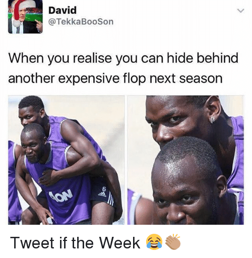 Memes, 🤖, and Another: David  @TekkaBooSon  When you realise you can hide behind  another expensive flop next season  6 Tweet if the Week 😂👏🏽
