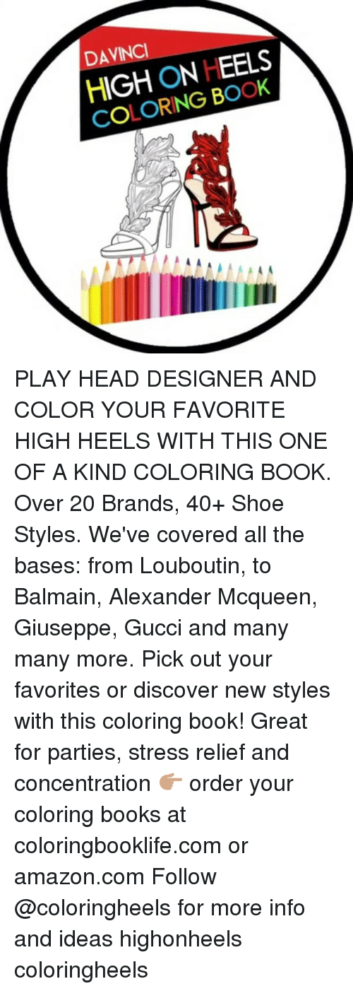 Davinci High On Heels Coloring Book 1 Play Head Designer And Color