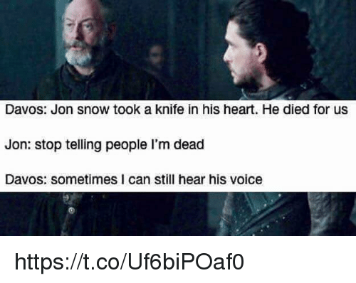 Jon Snow, Heart, and Snow: Davos: Jon snow took a knife in his heart. He died for usS  Jon: stop telling people I'm dead  Davos: sometimes I can still hear his voice https://t.co/Uf6biPOaf0