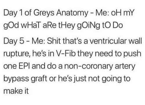 God, Memes, and Oh My God: Day 1 of Greys Anatomy - Me: oH mY  gOd wHaT aRe tHey gOiNg tO Do  Day 5 Me: Shit that's a ventricular wall  rupture, he's in V-Fib they need to push  one EPI and do a non-coronary artery  bypass graft or he's just not going to  make it