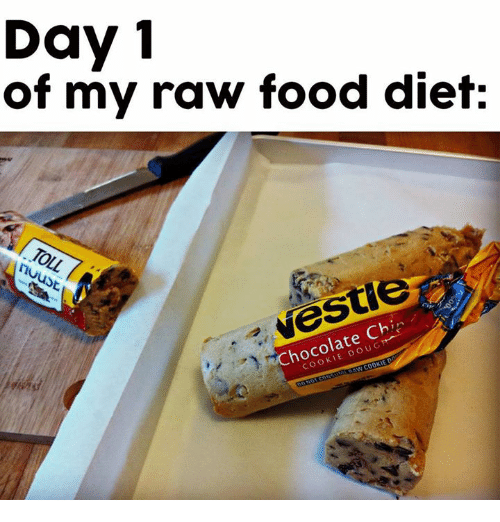 Memes, 🤖, and Raw: Day 1  of my raw food diet:  hu  Chin  Chocolate