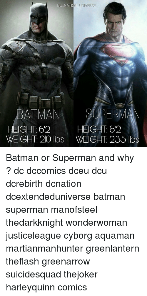 Batman, Memes, and Superman: DC NATION UNIVERSE  BATMANSUPERM  HEIGHT: 62  WEIGHT: 20 lbs WEIGHT: 235 lbs  HEIGHT 62 Batman or Superman and why ? dc dccomics dceu dcu dcrebirth dcnation dcextendeduniverse batman superman manofsteel thedarkknight wonderwoman justiceleague cyborg aquaman martianmanhunter greenlantern theflash greenarrow suicidesquad thejoker harleyquinn comics