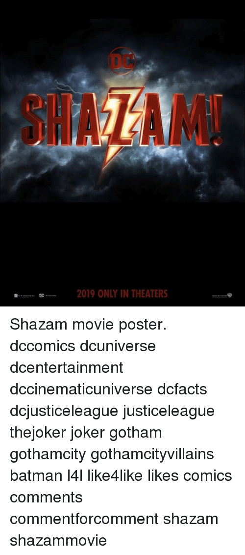 Dc Shaham 2019 Only In Theaters Shazam Movie Poster Dccomics
