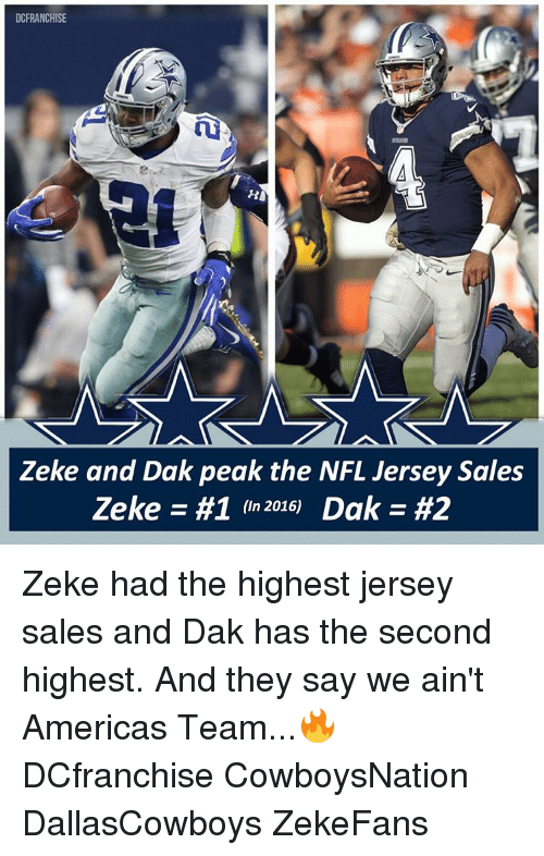 uk availability df119 1192b DCFRANCHISE Zeke and Dak Peak the NFL Jersey Sales Zeke #1 ...