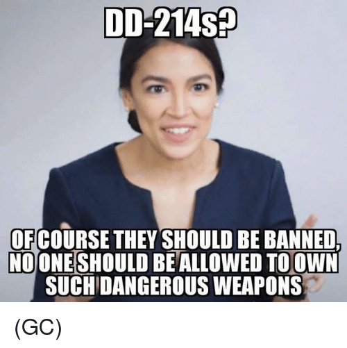 Memes, 🤖, and Weapons: DD-214sp  OF COURSE THEY SHOULD BE BANNED  NOONESHOULD  BE ALLOWED TO OWN  SUCHIDANGEROUS WEAPONS (GC)