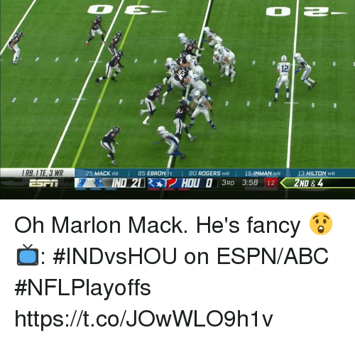 Abc, Espn, and Memes: DE  2  12  Ju  IRB, I TE, 3 WR  25 MACK RB  85 EBRONTE I 80 ROGERS wR | 15 INMAN wR 1  13 HILTON WR  3RD 3:58 12 Oh Marlon Mack.  He's fancy 😲  📺: #INDvsHOU on ESPN/ABC #NFLPlayoffs https://t.co/JOwWLO9h1v