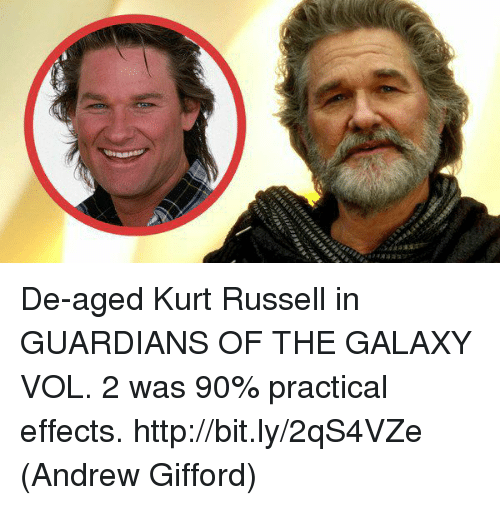 Memes, Guardians of the Galaxy, and Http: De-aged Kurt Russell in GUARDIANS OF THE GALAXY VOL. 2 was 90% practical effects. http://bit.ly/2qS4VZe  (Andrew Gifford)