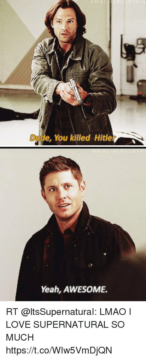 Lmao, Love, and Memes: de,You killed Hitle   Yeah, AWESOME. RT @ltsSupernaturaI: LMAO I LOVE SUPERNATURAL SO MUCH https://t.co/WIw5VmDjQN