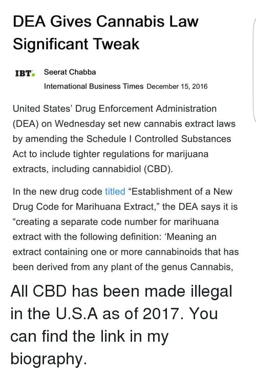 DEA Gives Cannabis Law Significant Tweak IBT Seerat Chabba