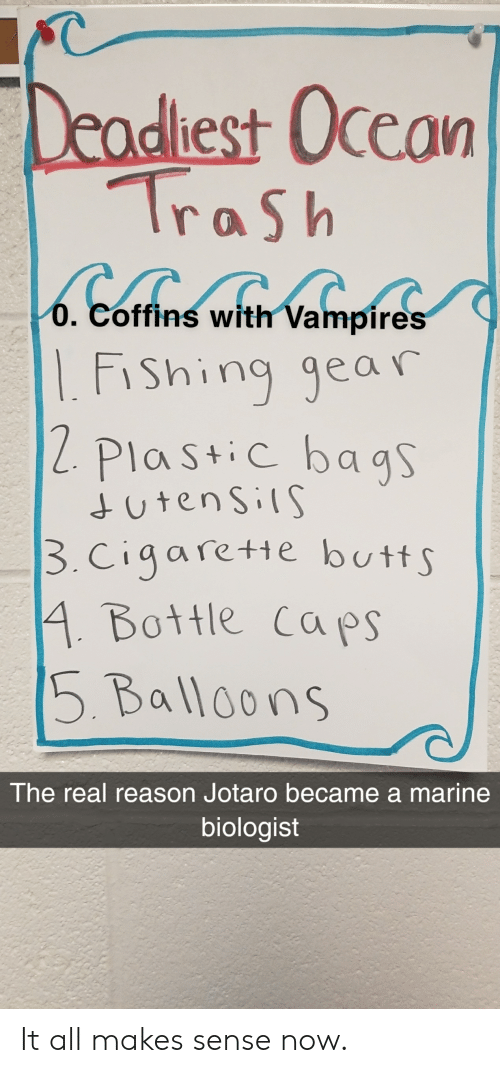 Butt, Trash, and The Real: Deadlest Occam  Trash  O. Coffins with Vampires  Fi  Shing gear  2 Plast c bags  utens IS  3.cigaretie butt  4 Bottle caps  5 Balloons  The real reason Jotaro became a marine  biologist It all makes sense now.