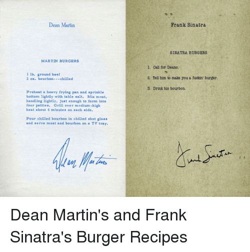 Dean Marlin Martin Burgers Lb Ground Beef 2 Oz Bourbon Chilled Preheat A Heavy Frying Pan And Sprinkle Bottom Lightly With Table Salt Mix Meat Handling Lightly Just Enough To Form Into