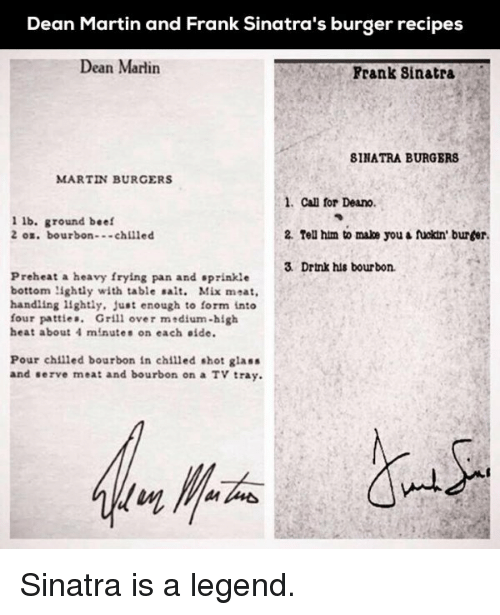 Dean Martin And Frank Sinatra S Burger Recipes Dean Martin Frank Sinatra 8inatra Burgers Martin Burgers 1 Can For Deano 1 Lb Ground Beef 2 Tell Him To Make You Fuckin Burder 2