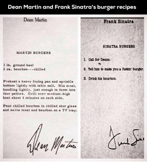 Dean Martin And Frank Sinatra S Burger Recipes Dean Martin Frank Sinatra Binatra Burgers Martin Burgers 1 Can For Deano 1 Lb Ground Beef 2 Tell Him To Make You A Fuckin Burler