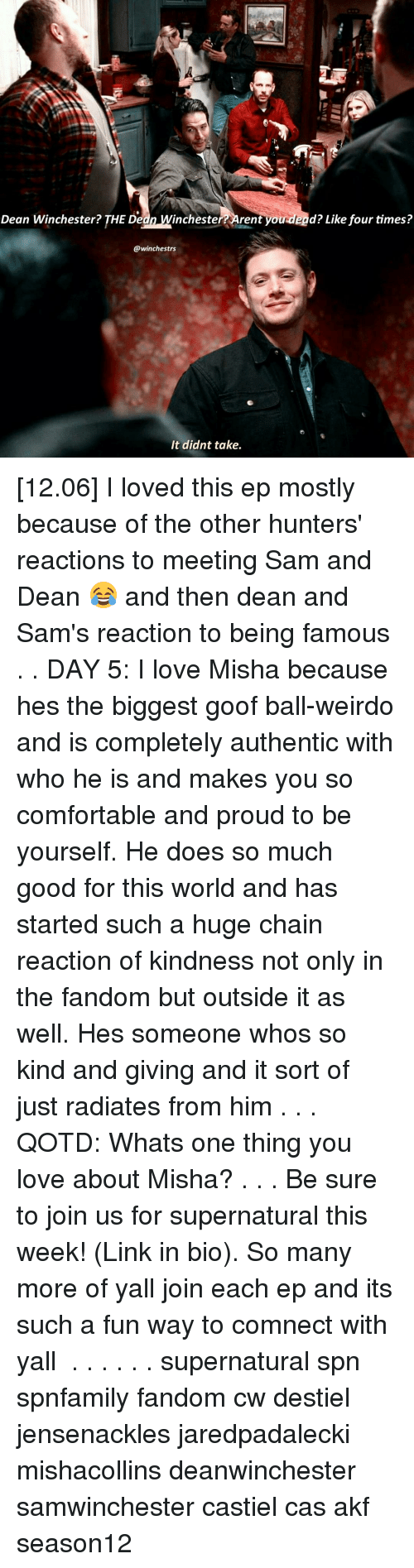 Memes, 🤖, and Rent: Dean Winchester? THE Dedn inchester rent you dead? Like four times?  @winchestrs  It didnt take. [12.06] I loved this ep mostly because of the other hunters' reactions to meeting Sam and Dean 😂 and then dean and Sam's reaction to being famous . . DAY 5: I love Misha because hes the biggest goof ball-weirdo and is completely authentic with who he is and makes you so comfortable and proud to be yourself. He does so much good for this world and has started such a huge chain reaction of kindness not only in the fandom but outside it as well. Hes someone whos so kind and giving and it sort of just radiates from him . . . QOTD: Whats one thing you love about Misha? . . . Be sure to join us for supernatural this week! (Link in bio). So many more of yall join each ep and its such a fun way to comnect with yall ♡ . . . . . . supernatural spn spnfamily fandom cw destiel jensenackles jaredpadalecki mishacollins deanwinchester samwinchester castiel cas akf season12