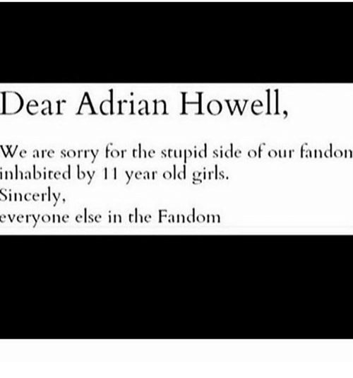 Memes Sincerely And Dear Adrian Howell We Are Sorry For The