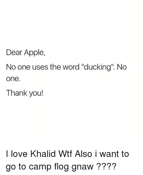 "Apple, Love, and Wtf: Dear Apple,  No one uses the word ""ducking"". No  one  Thank you! I love Khalid Wtf Also i want to go to camp flog gnaw ????"