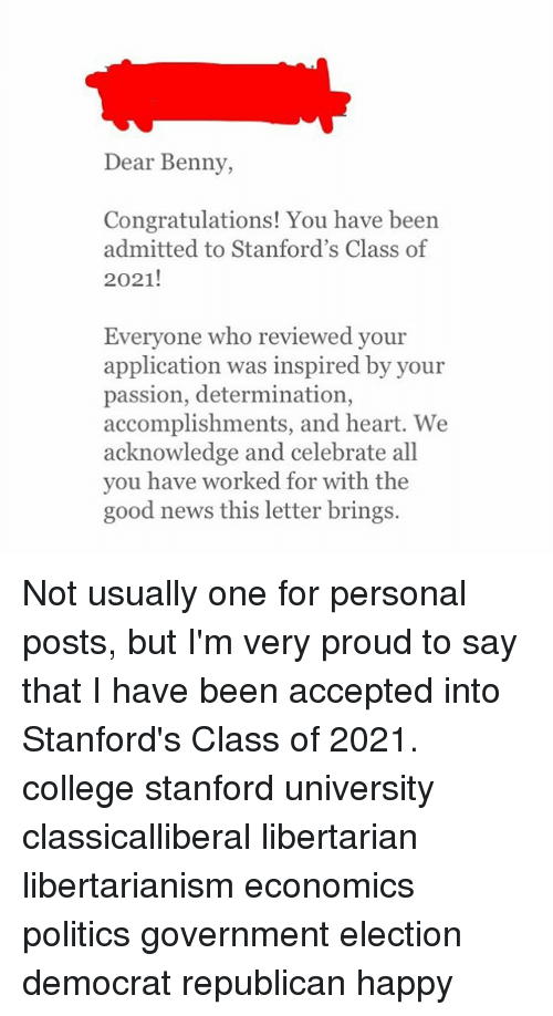 Dear benny congratulations you have been admitted to stanfords college memes and congratulations dear benny congratulations you have been admitted thecheapjerseys