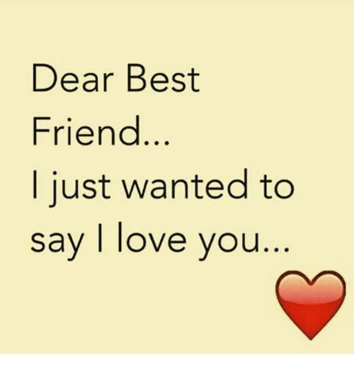 Dear Best Friend I Just Wanted To Say I Love You Best Friend Meme