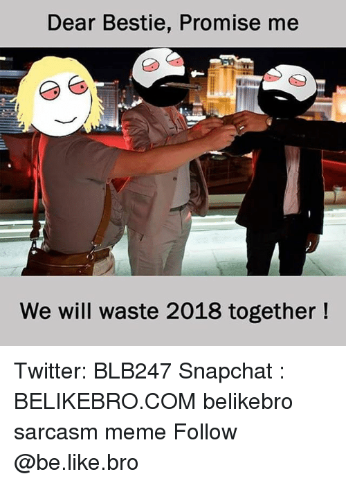Be Like, Meme, and Memes: Dear Bestie, Promise me  9  We will waste 2018 together! Twitter: BLB247 Snapchat : BELIKEBRO.COM belikebro sarcasm meme Follow @be.like.bro