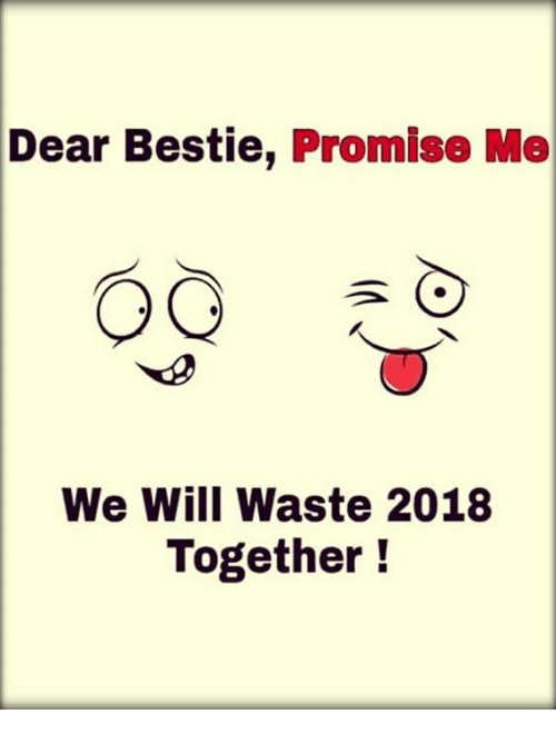 Memes, 🤖, and Will: Dear  Bestie, Promise Me  We Will Waste 2018  Together!