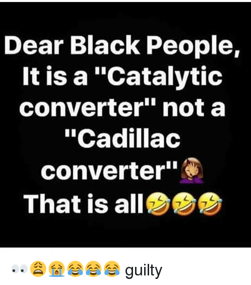 Dear Black People It Is a Catalytic Converter Not a Cadillac