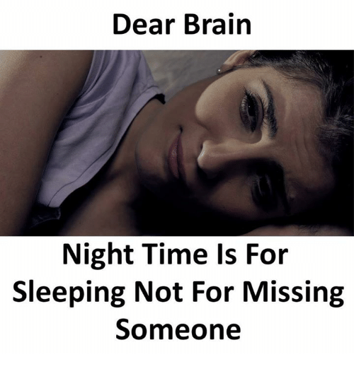 Memes, Brain, and Time: Dear Brain  Night Time Is For  Sleeping Not For Missing  Someone