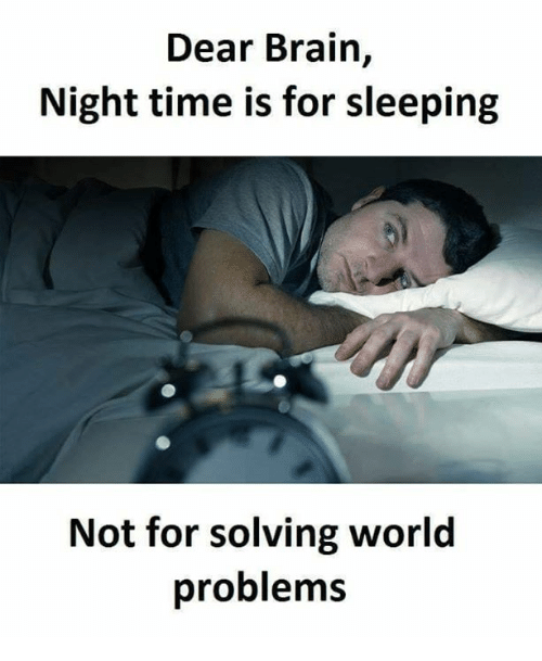 Memes, Brain, and Time: Dear Brain,  Night time is for sleeping  Not for solving world  problems