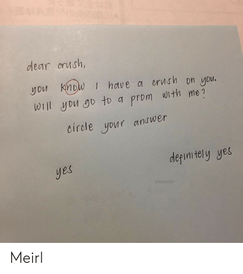 Crush, MeIRL, and Yes: dear crush,  you Know | hdve 여 orvt.fh Dn you.  Wiil yDu go to a prom with me?  eirole your andwer  derimitely yes  yes  shanmin Meirl