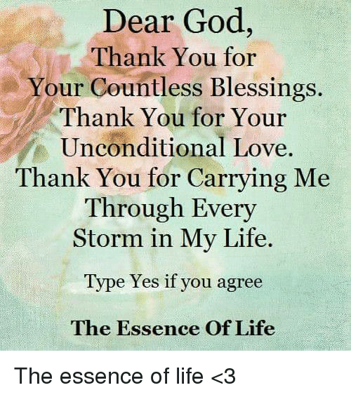 Dear God Thank You For Your Countless Blessings Thank You For Your