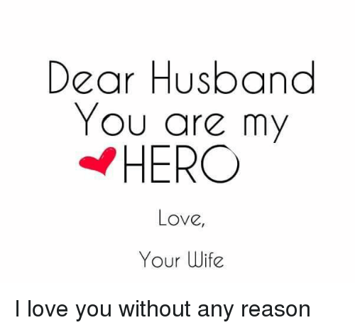 Dear Husband You Are My Hero Love Your Wife I Love You Without Any