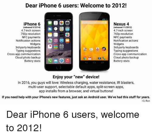 Dear iPhone 6 Users Welcome to 2012! iPhone 6 Nexus 4 Released 92014