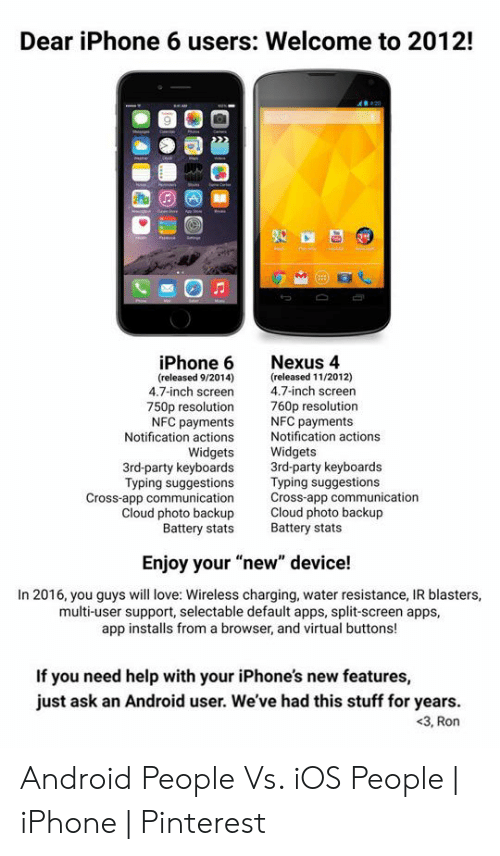 Dear iPhone 6 Users Welcome to 2012! iPhone 6 Nexus 4