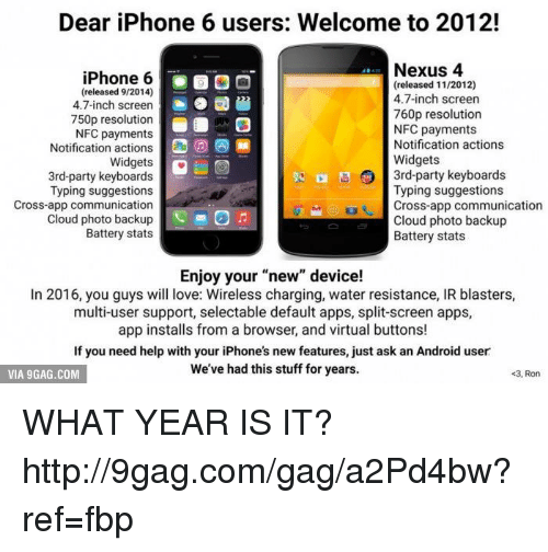 Dear iPhone 6 Users Welcome to 2012! Nexus 4 iPhone 6 Released