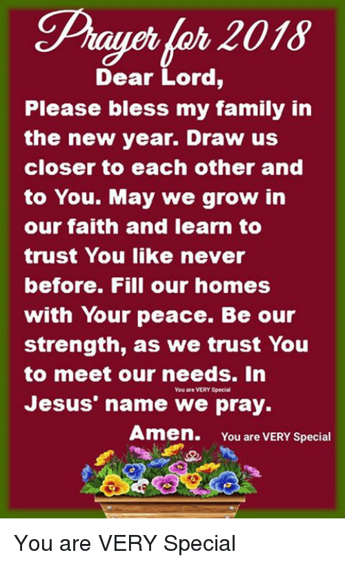 Dear Lord Please Bless My Family in the New Year Draw Us Closer to ...