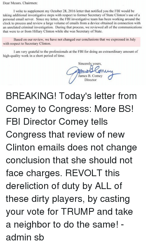 Dear messrs chairmen l write to supplement my october 28 2016 letter clock fbi and hillary clinton dear messrs chairmen l write to spiritdancerdesigns Gallery