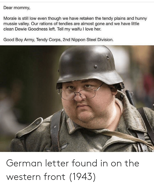 Love, Army, and Good: Dear mommy,  Morale is still low even though we have retaken the tendy plains and hunny  mussie valley. Our rations of tendies are almost gone and we have little  clean Dewie Goodness left. Tell my waifu I love her.  Good Boy Army, Tendy Corps, 2nd Nippon Steel Division. German letter found in on the western front (1943)