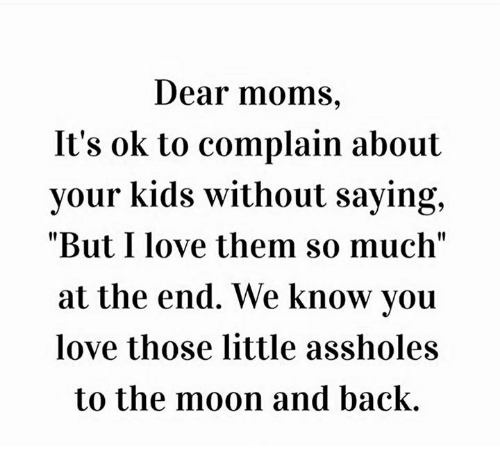 """Dank, Love, and Moms: Dear moms,  It's ok to complain about  your kids without saying,  """"But I love them so much""""  at the end. We know you  love those little assholes  to the moon and back."""