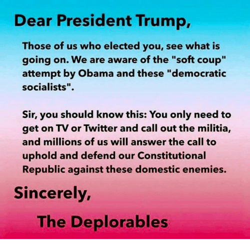 """Militia, Obama, and Twitter: Dear President Trump,  Those of us who elected you, see what is  going on. We are aware of the """"soft coup""""  attempt by Obama and these """"democratic  socialists"""".  Sir, you should know this: You only need to  get on TV or Twitter and call out the militia,  and millions of us will answer the call to  uphold and defend our Constitutional  Republic against these domestic enemies.  Sincerely  The Deplorables"""