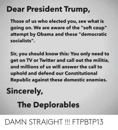 "Memes, Militia, and Obama: Dear President Trump,  Those of us who elected you, see what is  going on. We are aware of the ""soft coup""  attempt by Obama and these ""democratic  socialists"".  Sir, you should know this: You only need to  get on TV or Twitter and call out the militia,  and millions of us will answer the call to  uphold and defend our Constitutional  Republic against these domestic enemies.  Sincerely,  The Deplorables DAMN STRAIGHT !!!   FTPBTP13"