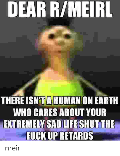 Life, Earth, and Sad: DEAR R/MEIRL  THERE ISN'TAHUMAN ON EARTH  WHO CARES ABOUT YOUR  EXTREMELY SAD LIFE SHUT THE  FUCK UP RETARDS meirl