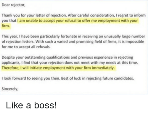 rejection letter after accepting job offer 25 best memes about rejection rejection memes 17304